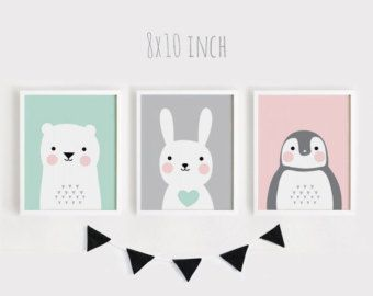 printable nursery art set of 2 poster baby room wall art kids room decor mint and gray bear bunny print 8x10 a4 a3 40x50 instant download baby posters
