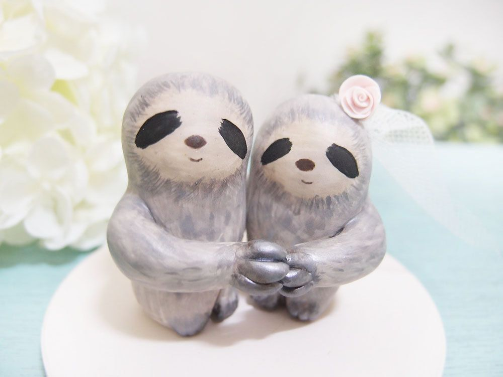 Custom Handmade Wedding Cake Toppers Love Grey Sloth 120 00 Via Etsy Totes A Joke But I Had To Pin It