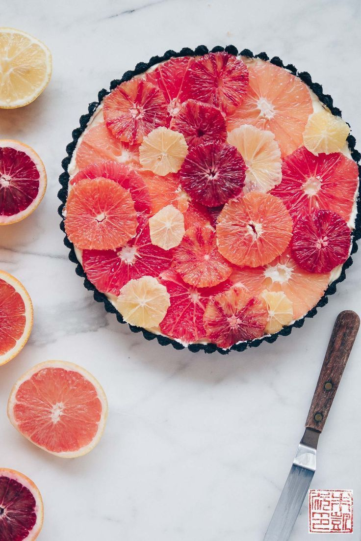 Winter Citrus Tart in a Chocolate Crust #desserts