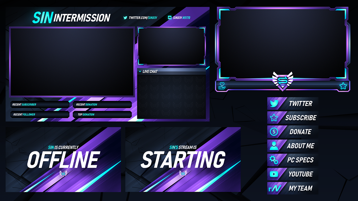 Twitch Livestream Designs Stream Packages Overlays On Behance Are You Looking To Take The Look Of Your Channel T In 2020 Youtube Design Twitch Streaming Setup Twitch