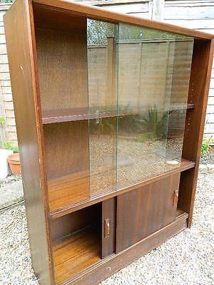 Vintage Retro G Plan Style Cabinet Sliding Glass Doors Bookcase