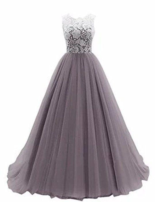 Damen A Linie Langes Lace Tuell Abendkleid Ballkleid Brautjungfer Cocktail Party Kleid Hochzeit Kleid Ballkleid Kleider Abschlussball Kleider