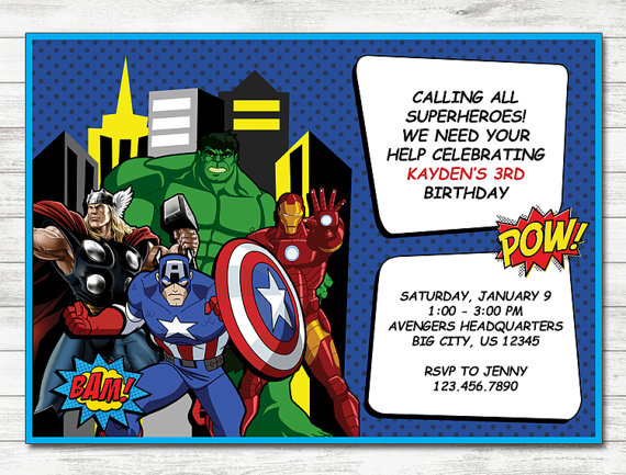 Avengers Invitation Avengers Party Avengers Printable