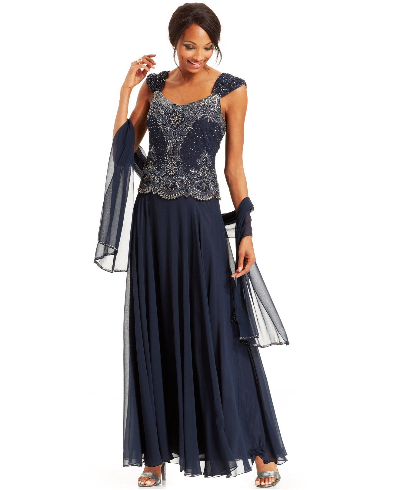 6563681f56 J Kara Beaded Bodice Chiffon Gown and Shawl - Dresses - Women - Macy s