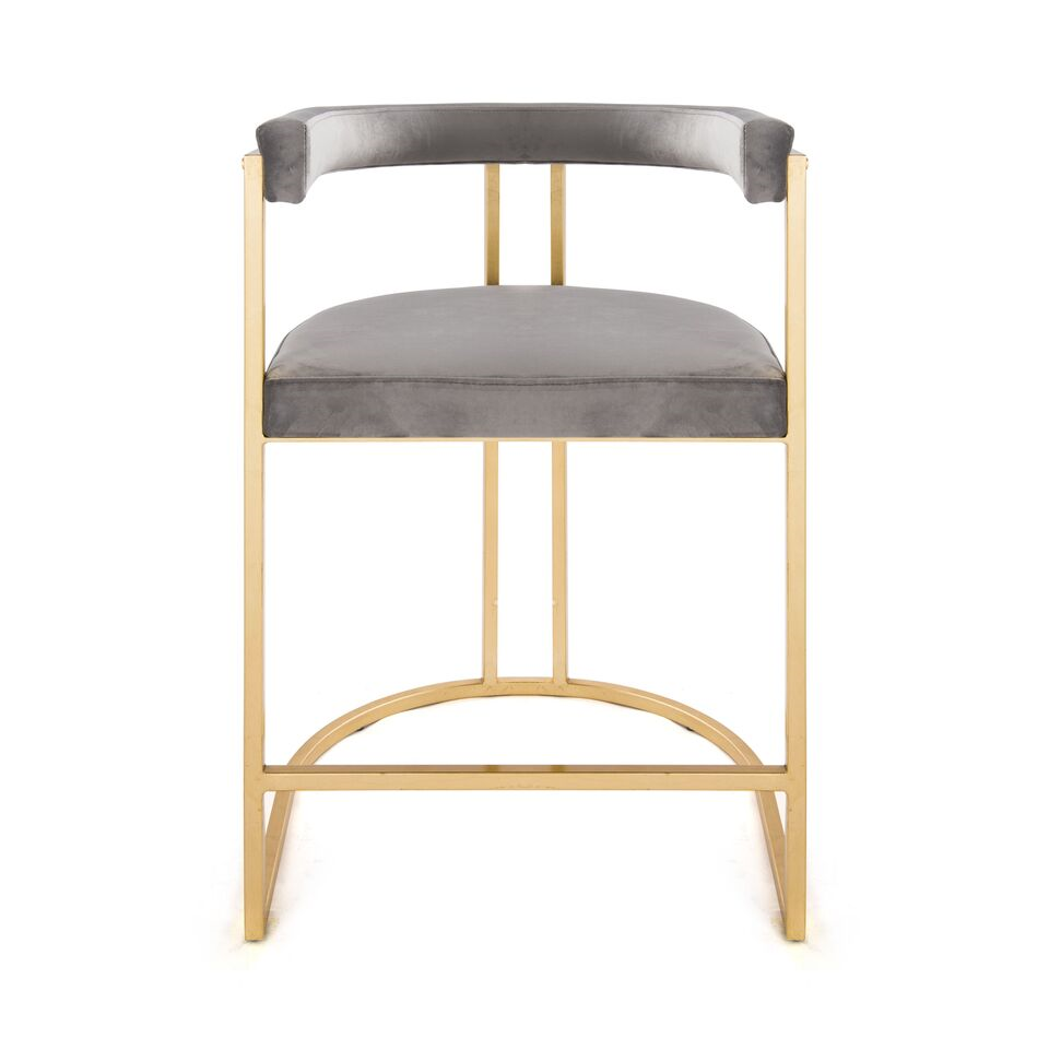Cromwell Counter Stool Grey Velvet And Brass Counter Stools