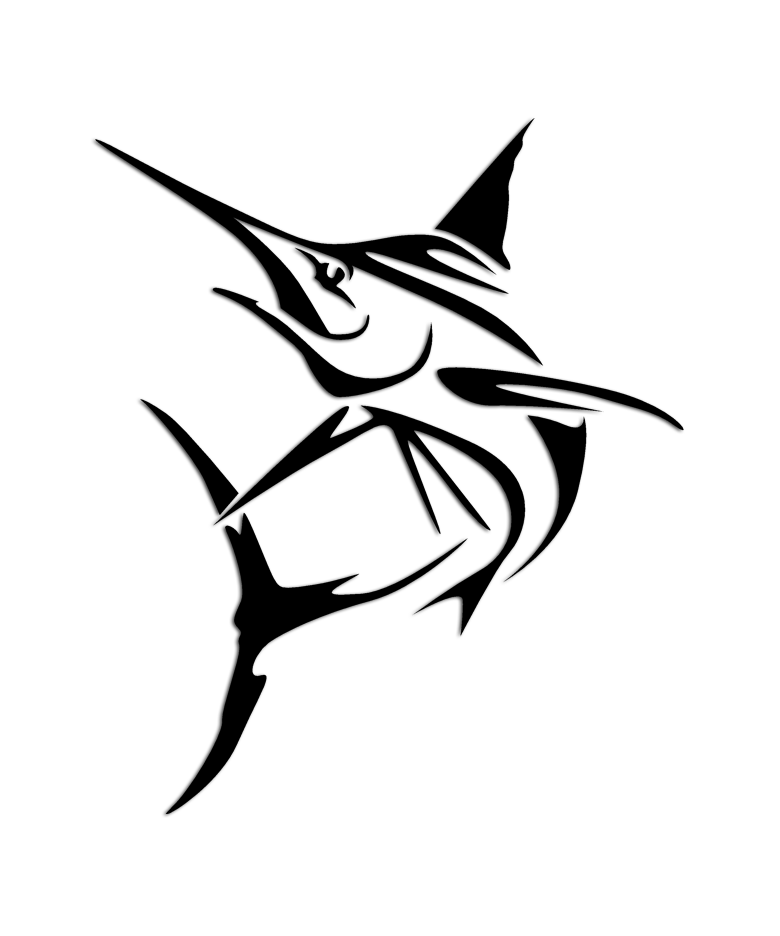 Laptop Car Blue Marlin tribal fish fishing boat Vinyl Decal Sticker Window