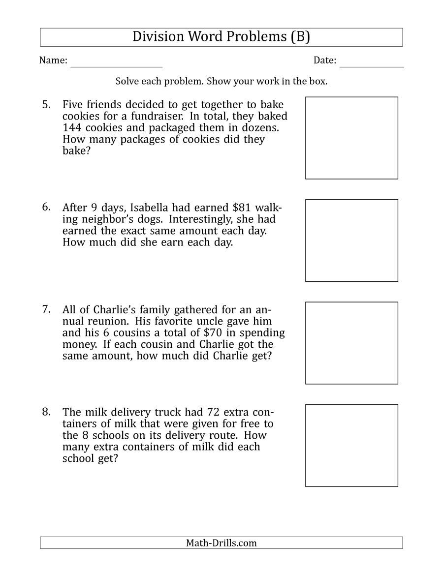 The Division Word Problems With Division Facts From 5 To 12 B Math Worksheet From Th Division Word Problems Word Problem Worksheets Subtraction Word Problems