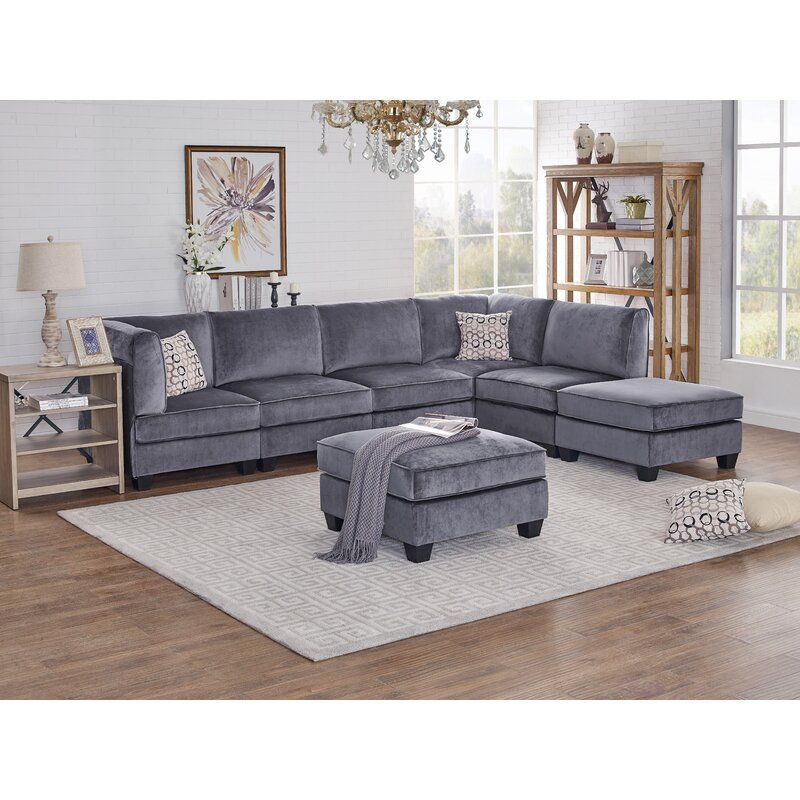 Marcie 120 Right Hand Facing Modular Sectional With Ottoman In 2020 Modular Sectional Sofa Modular Sectional Sectional Sofa
