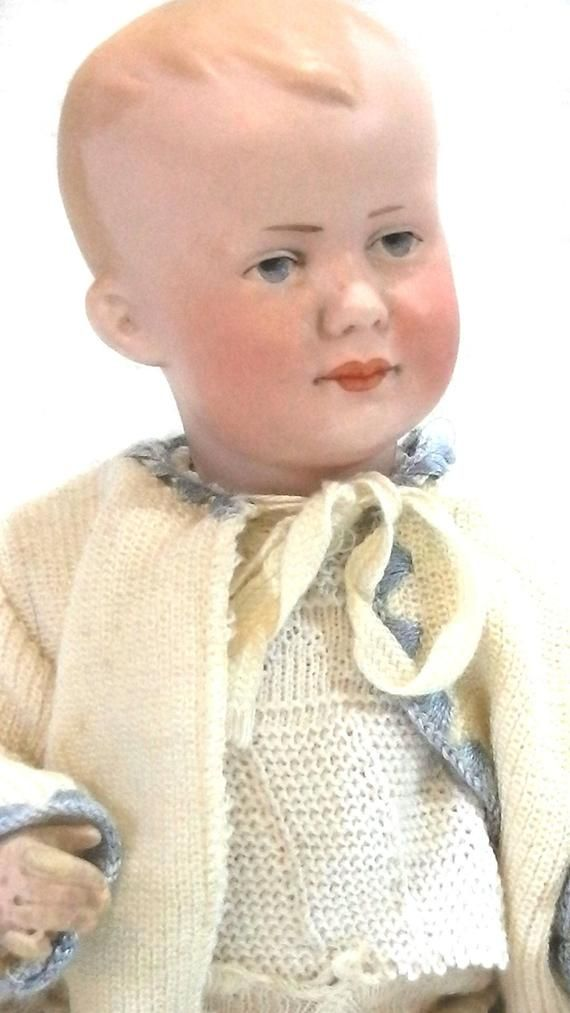 Antique Armand Marseille 500 Doll, bisque character 500 AM with Intaglio eyes , Baby Body