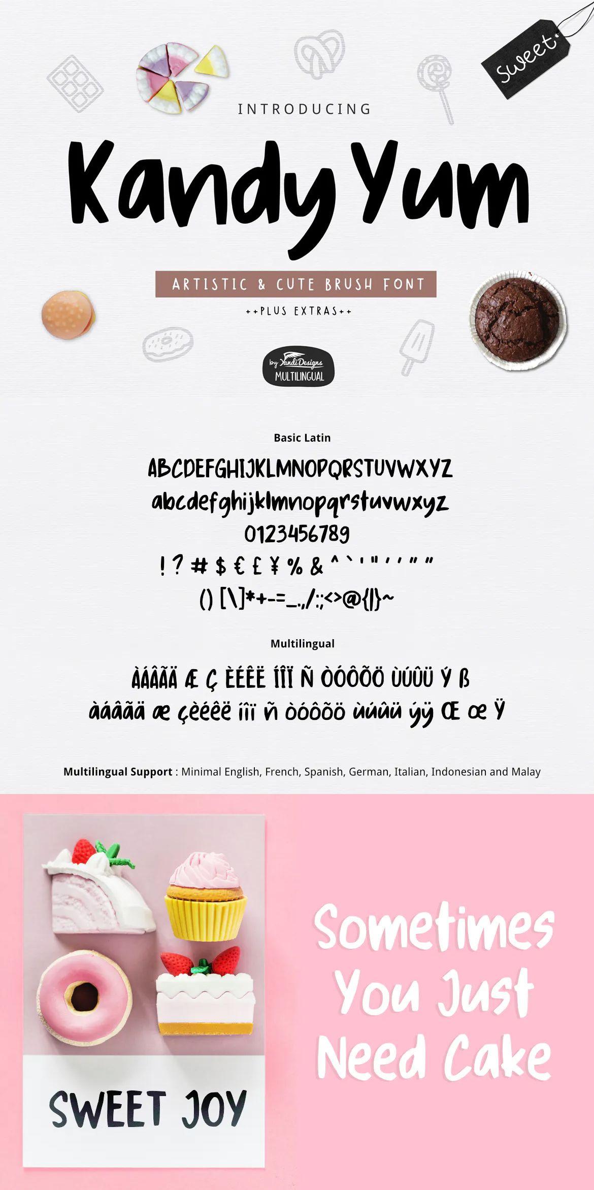 Kandy Yum Font by yandidesigns on Retro logos, Fonts
