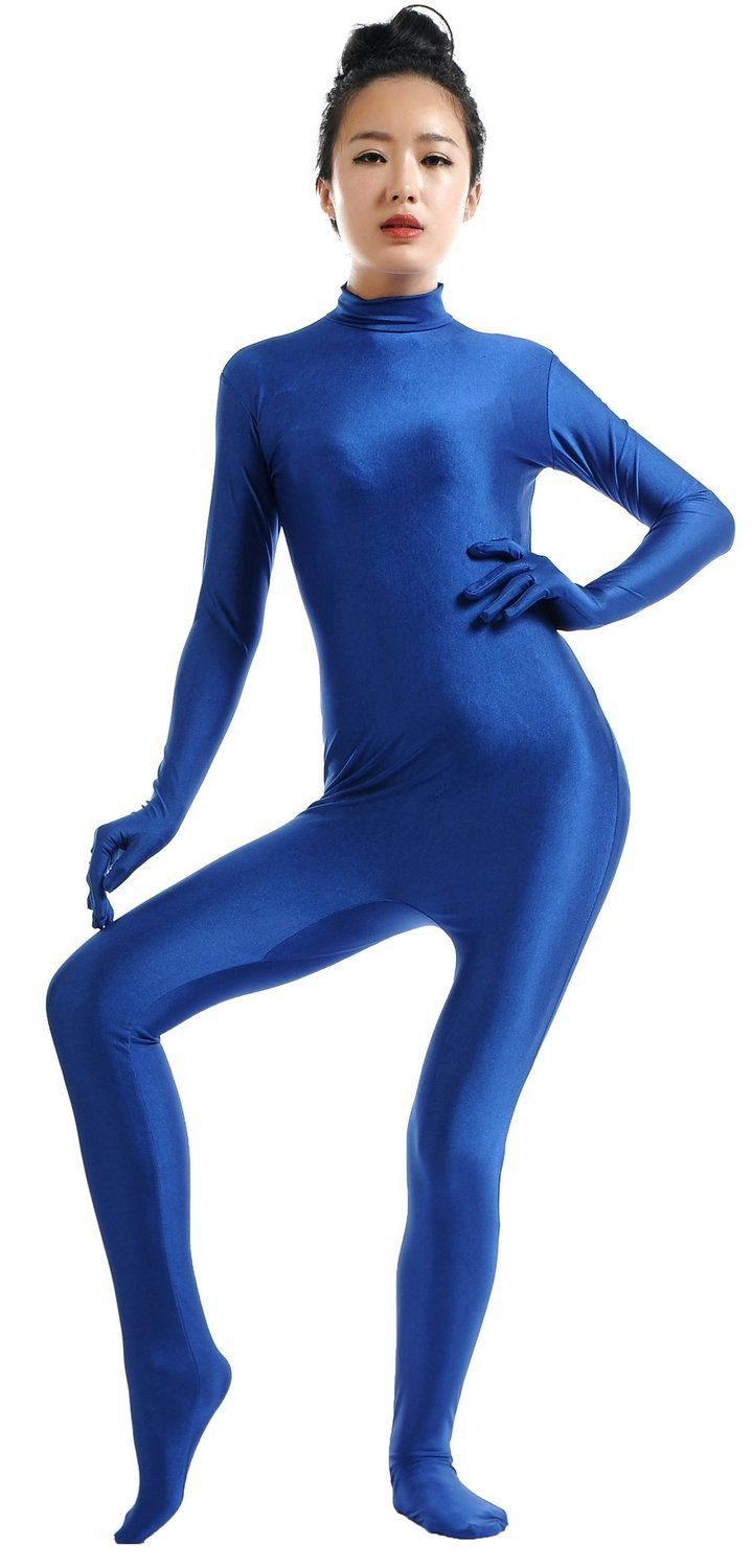 eb2e865f5b0 Ensnovo Women Blue Custom Nylon Lycra Spandex Turtleneck Bodysuit Full Body  Dancewear Suit Second Skin Tight Jumpsuit Zentai