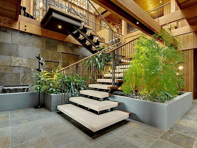 Best Interior Stairs Remodeled Modern Waterfront Home Near 640 x 480