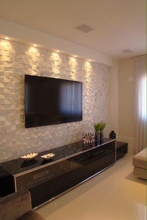 Sala De Tv Painel Mosaico Home Living Room House Interior Home And Living