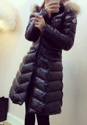 Elegant Hooded Long Sleeve Zip Up Faux Fur Splicing Down Coat For Women - BLACK L