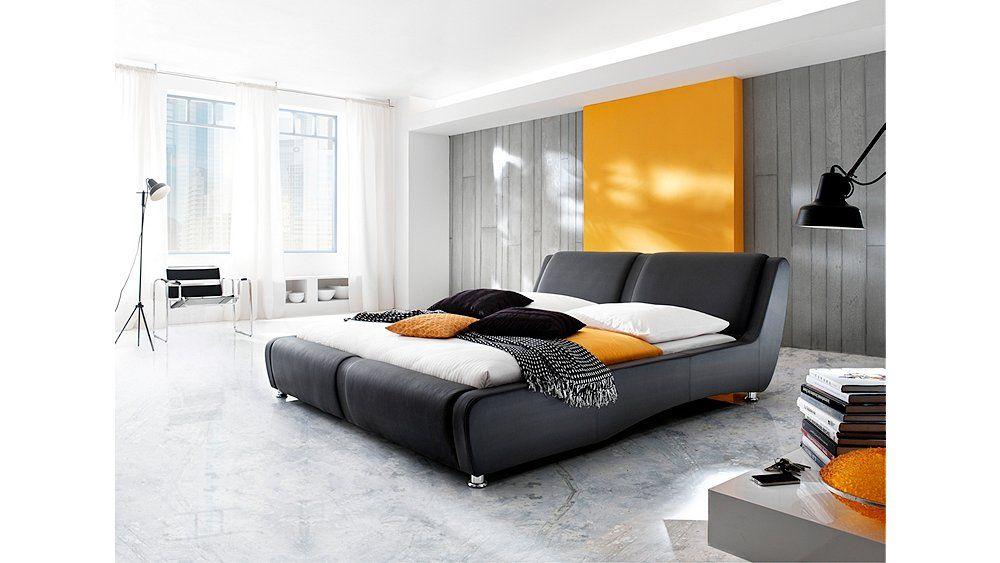 Doppelbett In Moderner Lederoptik Bedroom With Yellow Highlights Bett Ideen Braune Betten Bettwasche Schwarz