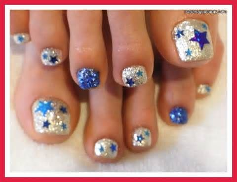 Sparkling Blue Star Pedicure Chic Toe Nail Art Ideas For Summer