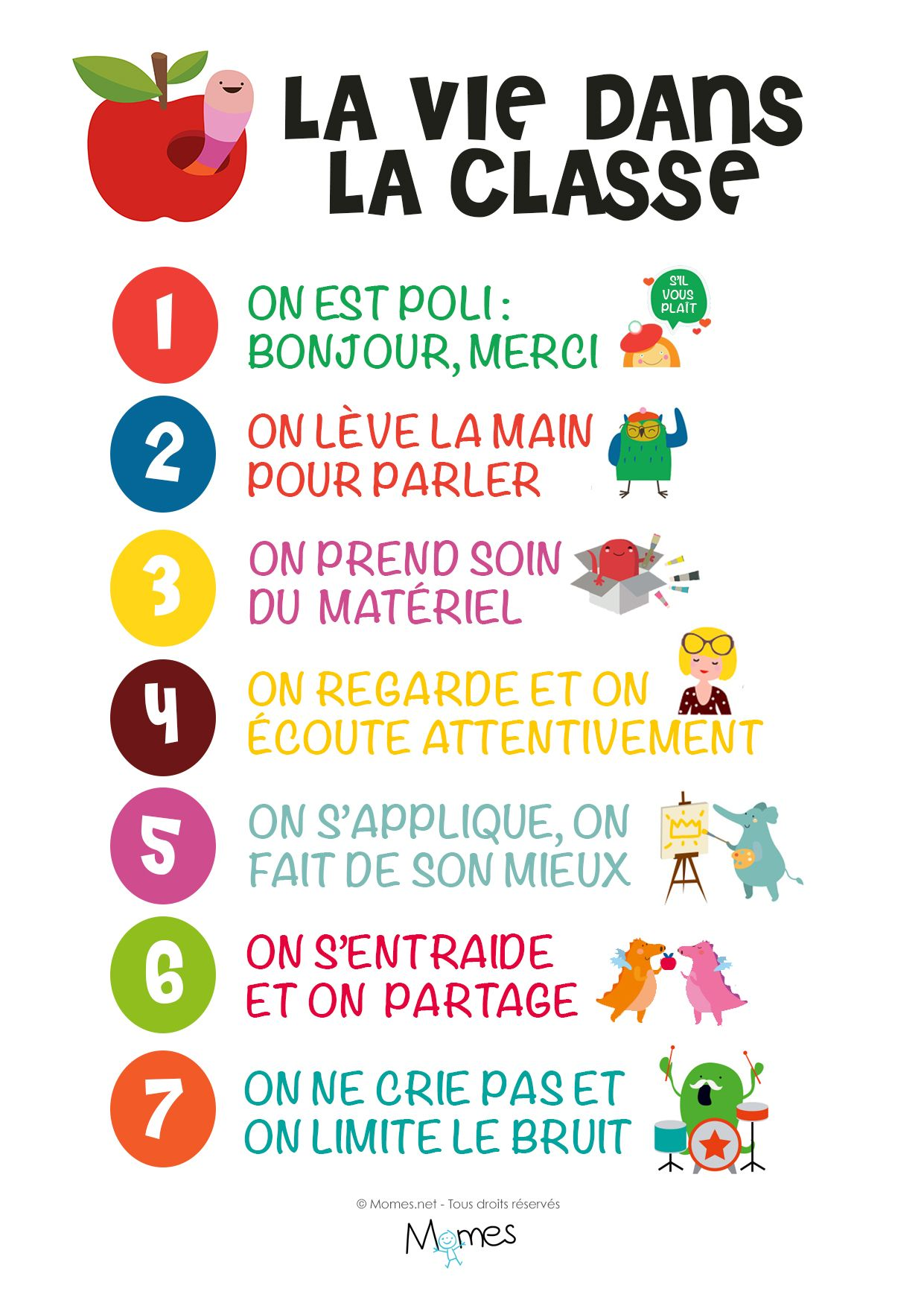 Beliebt Le poster des règles de vie en classe | En classe, Classe et Vie CL72