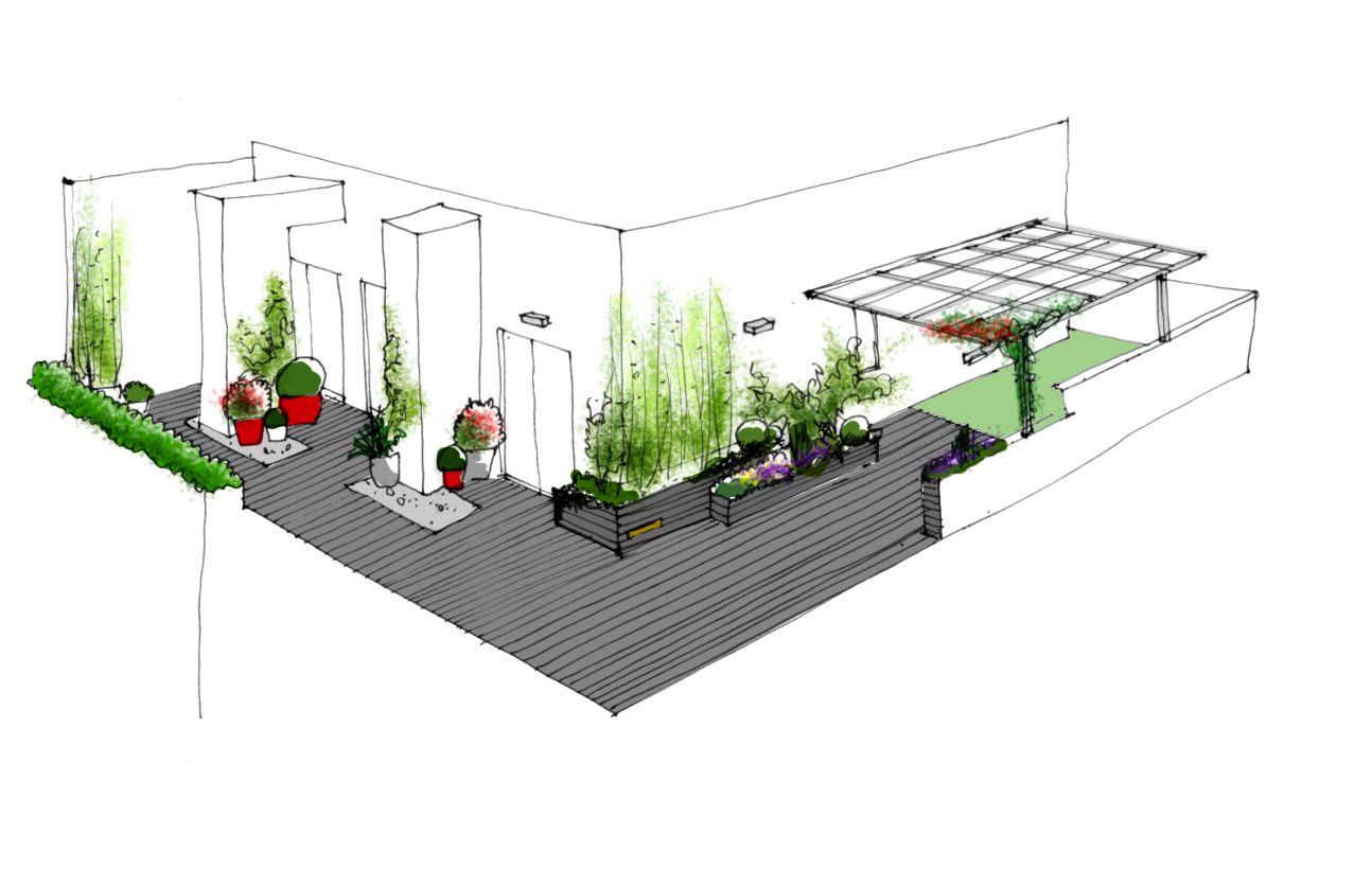 Dibujo del proyecto de dise o para jard n en atico for Diseno de jardin