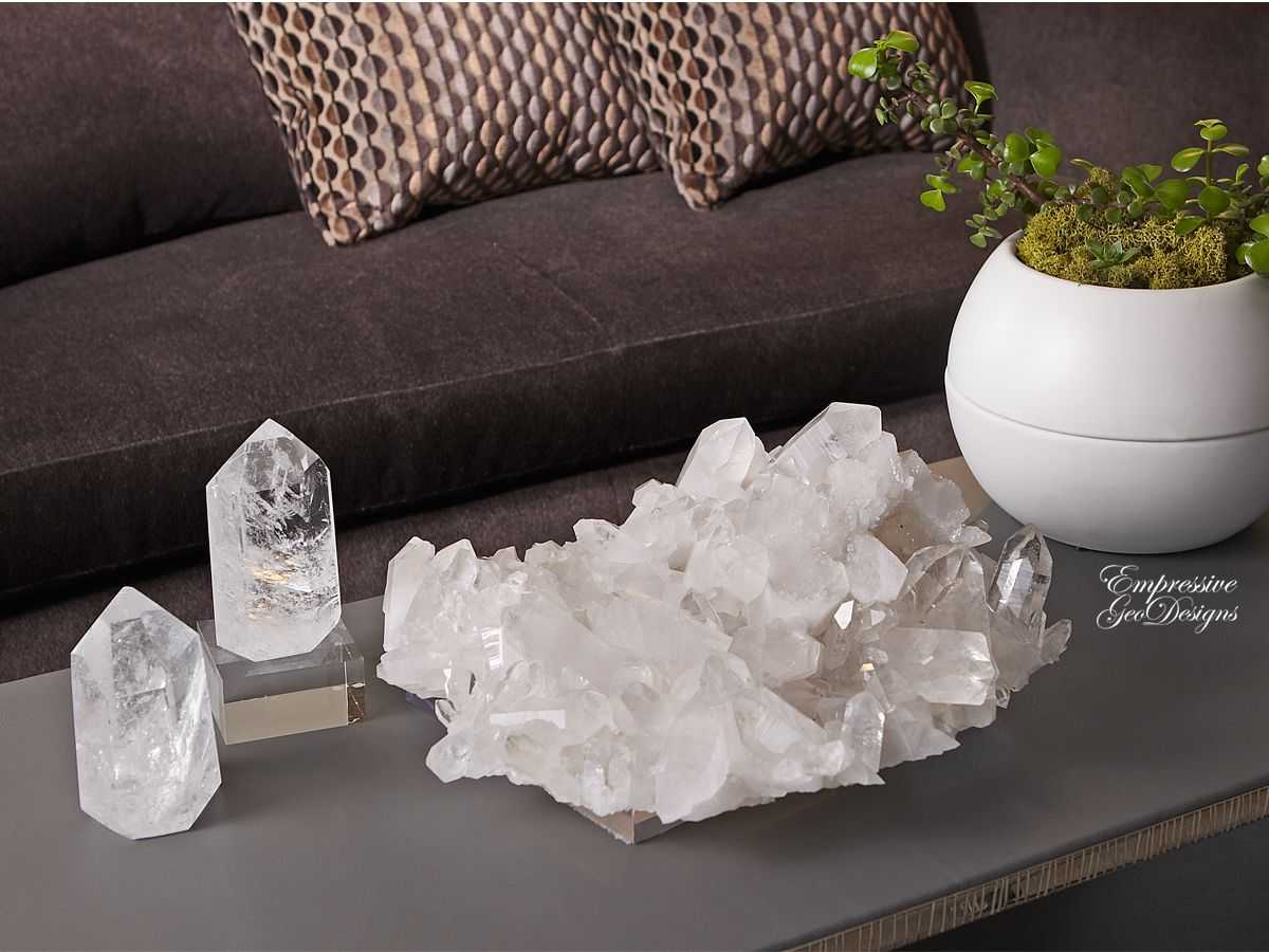 Mineral Accessories Whiteclear Geode Decor Lamps Mineral