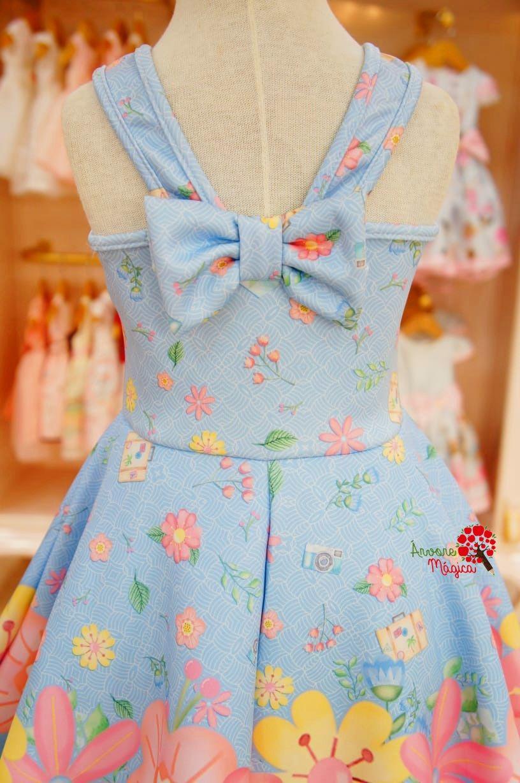 f84f2e33d Vestido Infantil Floral Azul e Rosa Mon Sucré | Lucy 2818 | Vestido ...
