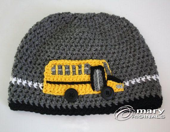 321d11e3fb6 School Bus Hat Bus Hat Crochet Bus Crochet Beanie by MaryOriginals