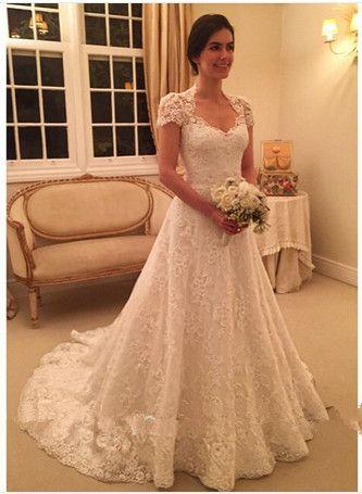 2016 vestidos de casamento com manga curta sweetheart a linha lace
