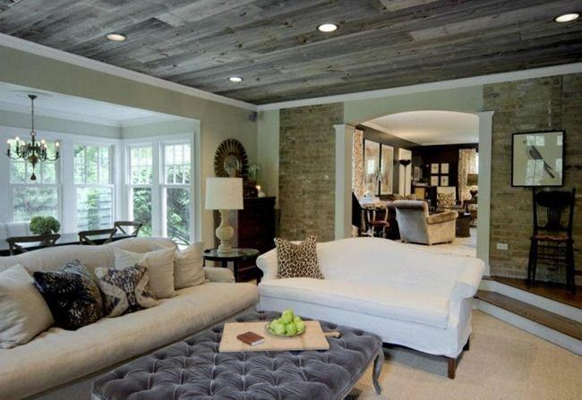 Barnboard Ceiling Home House Design Family Living Rooms