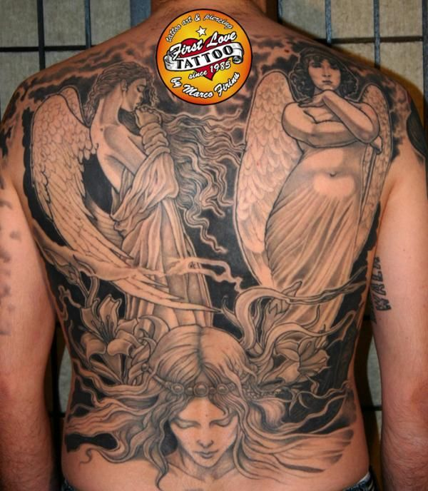 Angels on the back - 60 Holy Angel Tattoo Designs