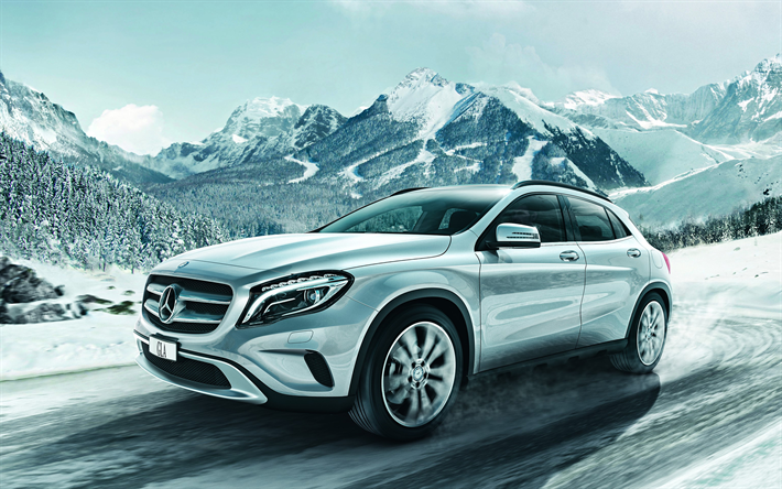 Download Wallpapers Mercedes Benz Gla 2018 New Cars Compact Suv Silver Gla Winter Snow Snow Riding Mercedes Besthqwallpapers Com Mercedes Benz Gla Compact Suv Mercedes Benz