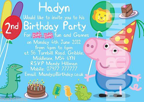 PEPPA PIG GEORGE Personalised Party Invitations or Thank You – Personalised Party Invites Uk