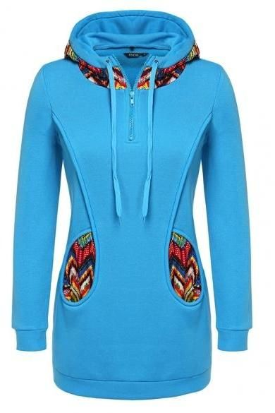 Finejo Women Fashion Casual Hooded Zipper Long Sleeve Patchwork Pullover Hoodie