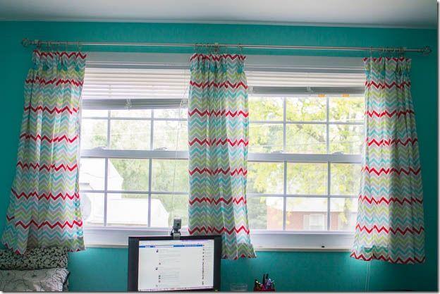 Chevron Red And Aqua Curtains