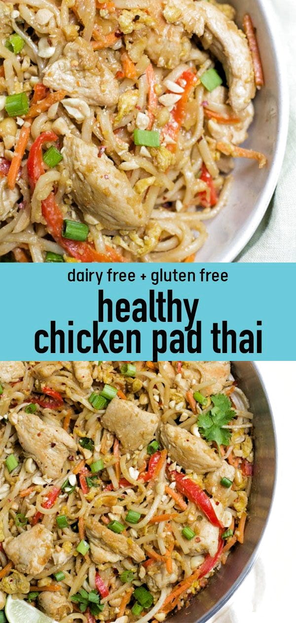 Skip the takeout tonight and make this Healthy Chicken Pad Thai recipe for dinner instead! This gluten free pad thai recipe is a healthier version of a classic takeout dish, packed with veggies, chicken and brown rice noodles. #healthy #glutenfree #dairyfree #thaifood