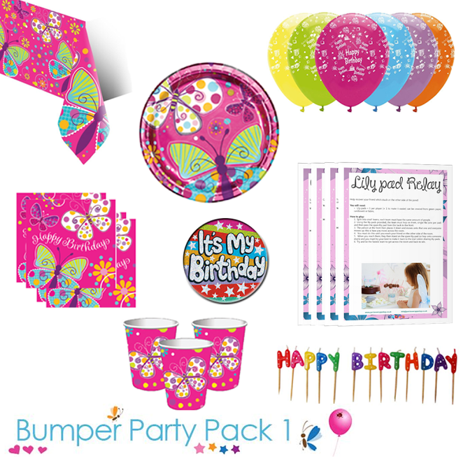 Butterfly Sparkle Party Tableware Bumper Pack 1 With Free Downloadable Party Game Packs Set The Scene For You With Images Butterfly Party Supplies Childrens Party Supplies