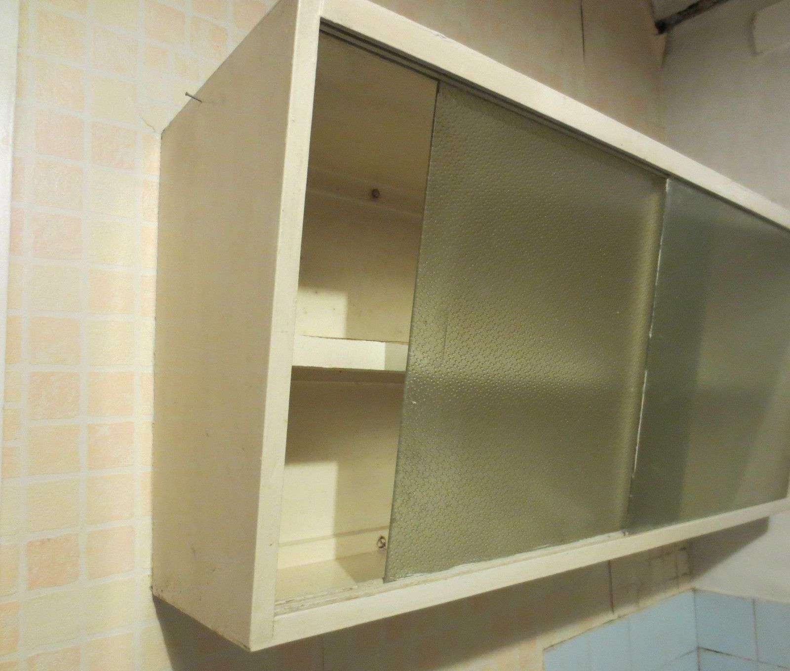 Vintage 50s 60s Style Kitchen Wall Unit With Sliding Glass Doors