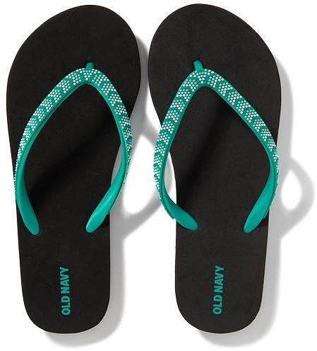 16d24edea1a3f9 Beaded Flip-Flops for Girls. Thong strap embellished with chevron-shaped  seed beads. Smooth