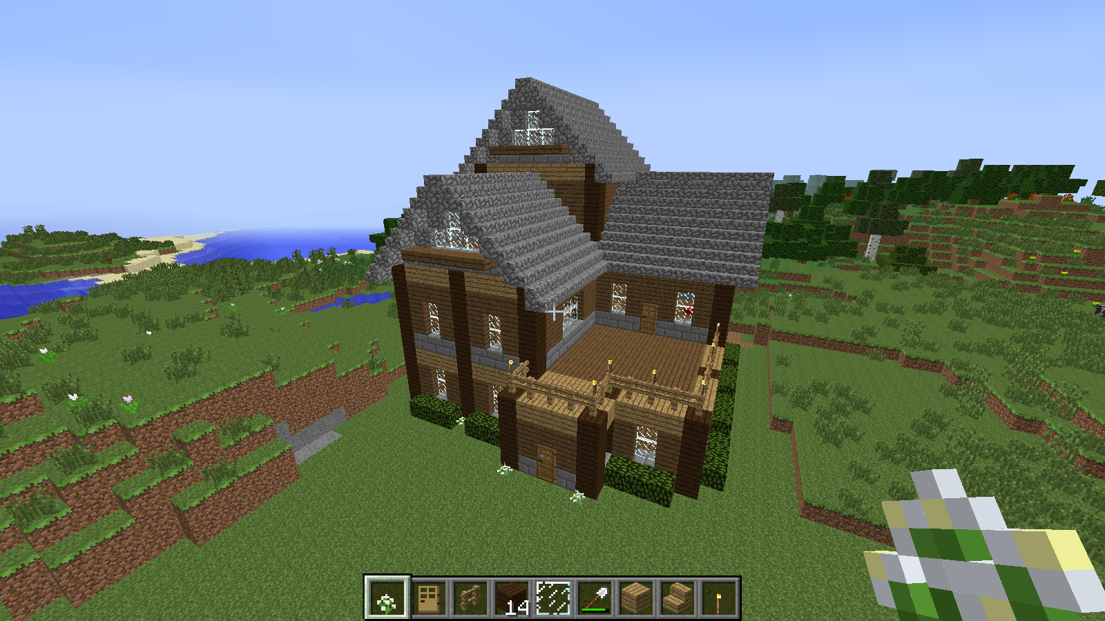 Minecraft house new 7 wallpaper download minecraft house for Classic house tutorial