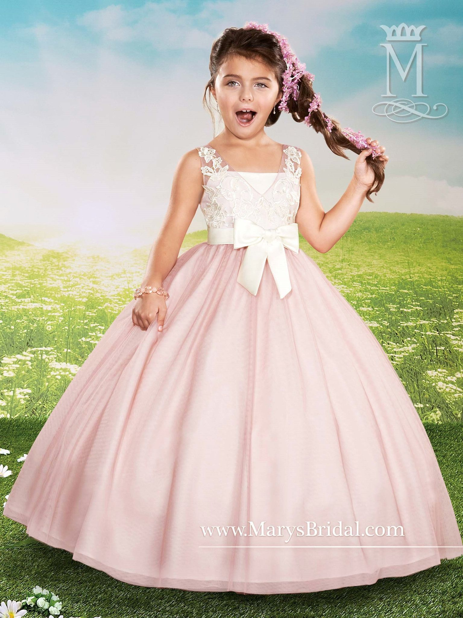 7c930ce38 Sleeveless Tulle/Lace Flower Girl Dress by Mary's Bridal Cupids F436 Lace Flower  Girls,