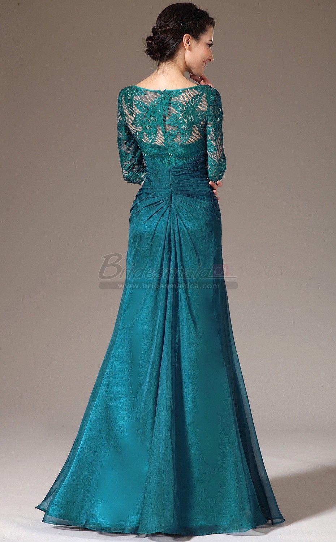 bridesmaiddresses Blue Chiffon and Lace Bateau Neckline Long Mermaid ...