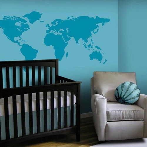Large world map 7 continents land home bird art decals wall sticker like the blue on blue with map and wall baby nursery wall decal large world map nursery wall decal 7 feet wide world map decal nursery wall map via gumiabroncs Choice Image