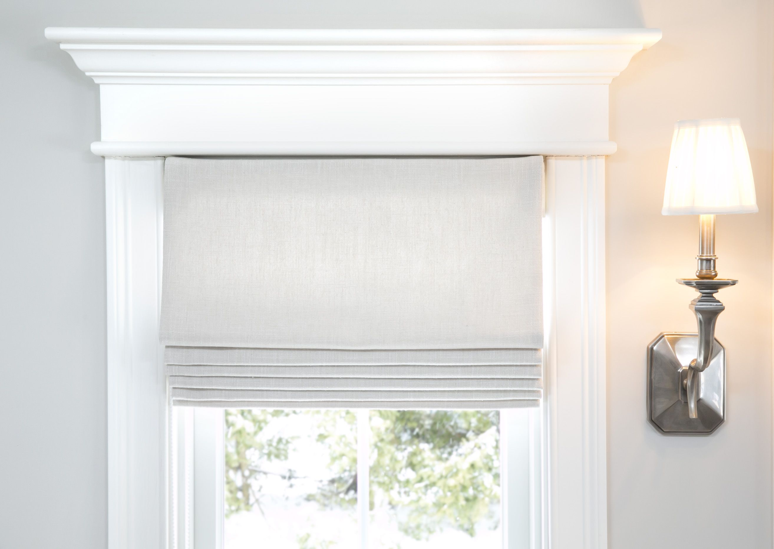 Snow white thermal fabric roman shades free shipping on orders over - White Cottage Custom Classic Operable Roman Shade In Perth Greige Linen Fabric