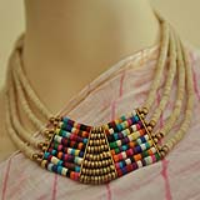 Jewellery,Indiacraft,Necklace (8 strings) strung with brass and multi colour beads  WWW.THEINDIACRAFTHOUSE.COM