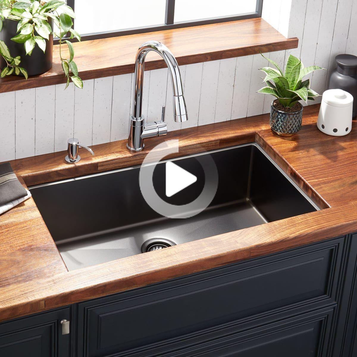 Signature Hardware 944641 32 In 2020 Undermount Kitchen Sinks Black Kitchen Sink Stainless Steel Kitchen Sink Undermount