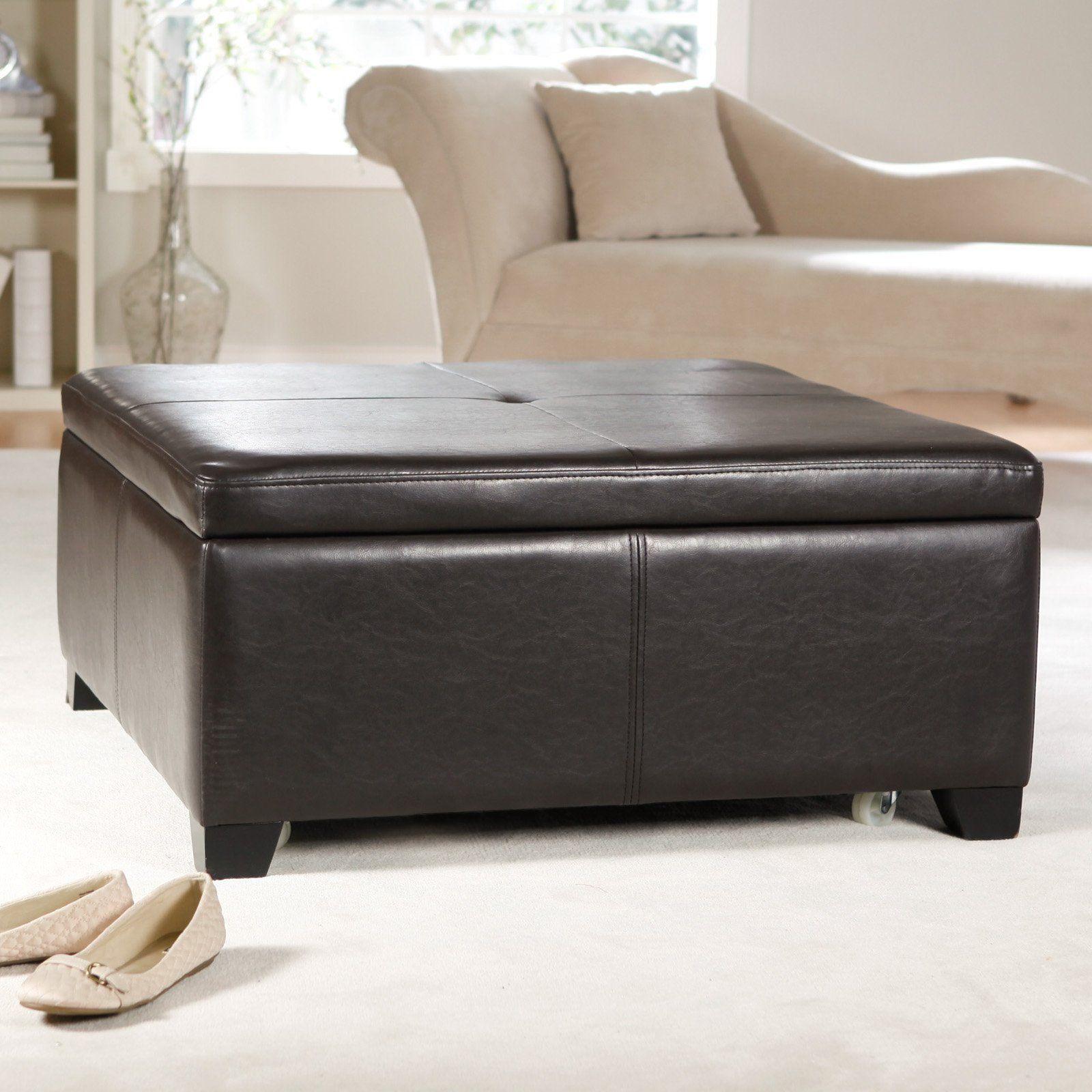 Superb Dvd Storage Leather Coffee Table Storage Ottoman Coffee