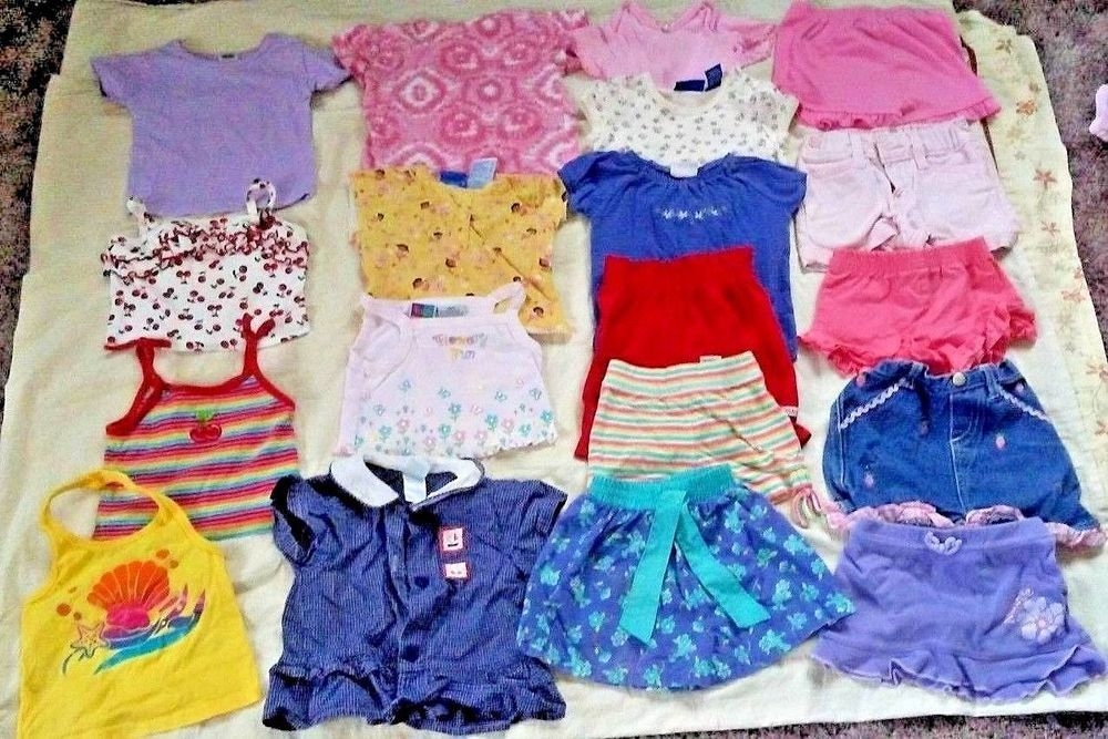 Lot Of 19 Baby Girl Clothes Summer Shirts Shorts Bodysuits Skirt
