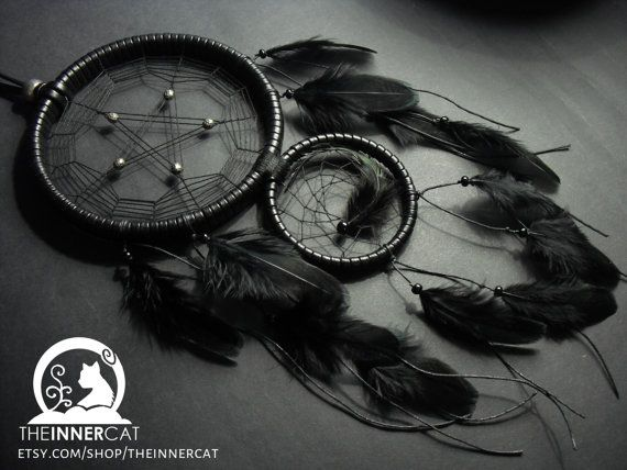 Pentacle dream catcher dreamcatcher home bedroom decor gift idea black faux leather - Gothic einrichtungsideen ...