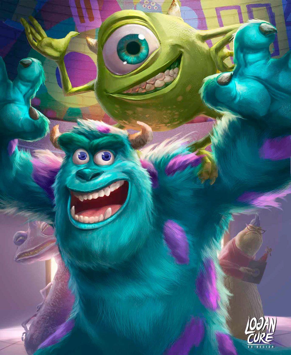 Artstation Monsters Inc Mike An Sullivan Logan Cure Disney