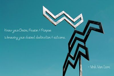 """""""Know your Desire, Passion and Purpose is knowing your desired destination & outcome"""" ~Vinh Van Lam"""