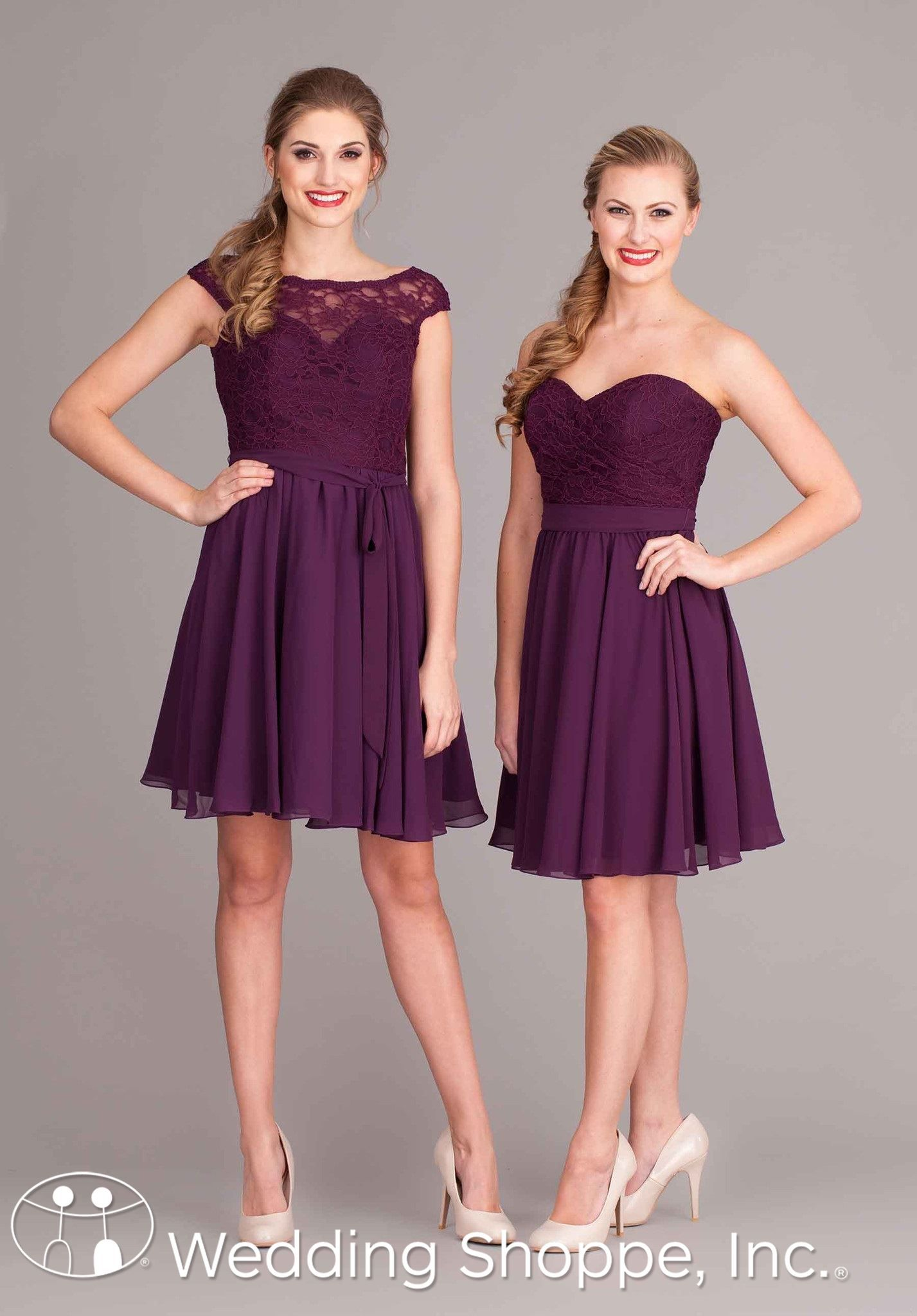 Short Lace And Chiffon Bridesmaid Dresses In Eggplant