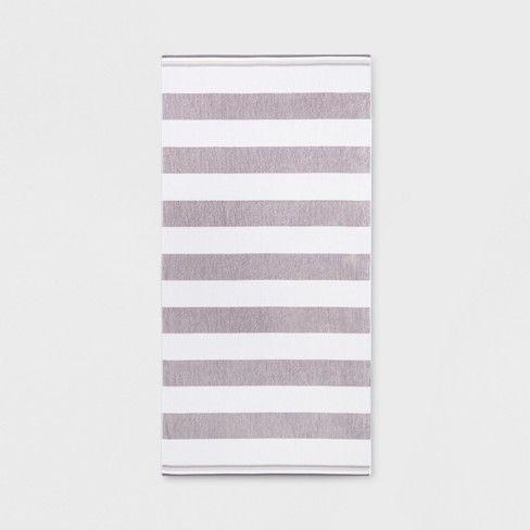 Xl Cabana Stripe Beach Towel Gray White Sun Squad Target
